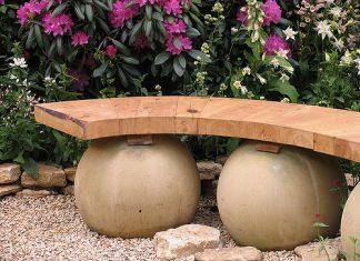 ספסל נמוך לגינה